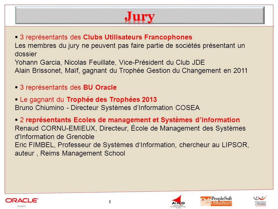 8 3 représentants des Clubs Utilisateurs Francophones Les membres du jury ne peuvent pas faire partie de sociétés présentant un dossier Yohann Garcia,