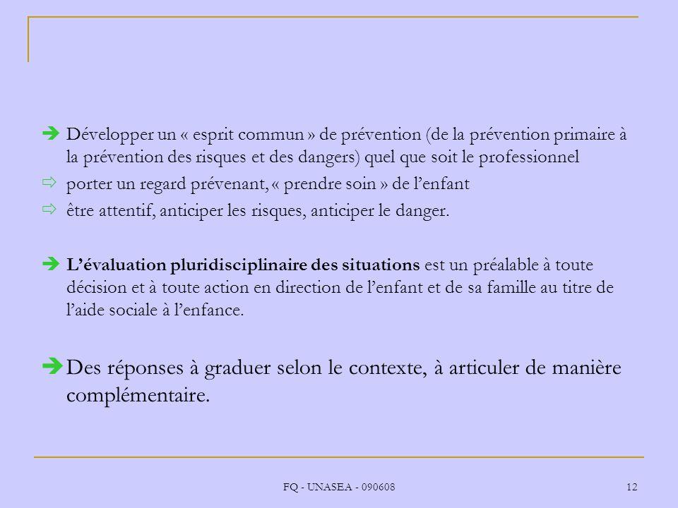 FQ - UNASEA - 090608 12 Développer un « esprit commun » de prévention (de la prévention primaire à la prévention des risques et des dangers) quel que