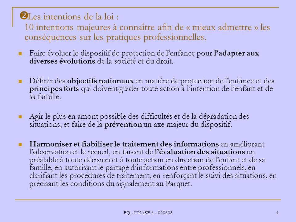 FQ - UNASEA - 090608 4 Les intentions de la loi : 10 intentions majeures à connaître afin de « mieux admettre » les conséquences sur les pratiques pro