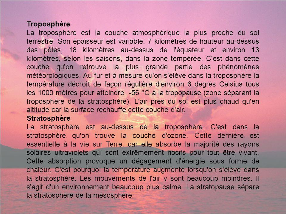Troposphère La troposphère est la couche atmosphérique la plus proche du sol terrestre. Son épaisseur est variable: 7 kilomètres de hauteur au-dessus