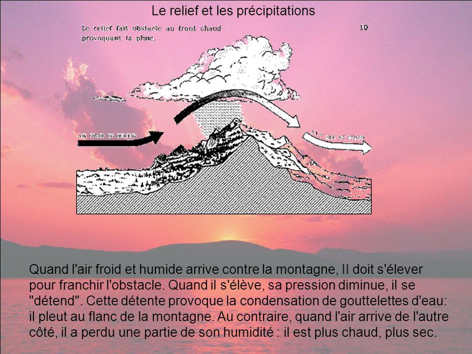 Le relief et les précipitations Quand l'air froid et humide arrive contre la montagne, II doit s'élever pour franchir l'obstacle. Quand il s'élève, sa