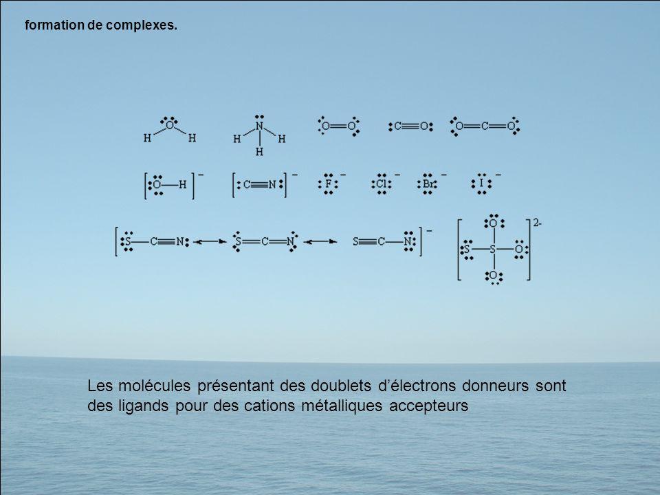 formation de complexes. Les molécules présentant des doublets délectrons donneurs sont des ligands pour des cations métalliques accepteurs