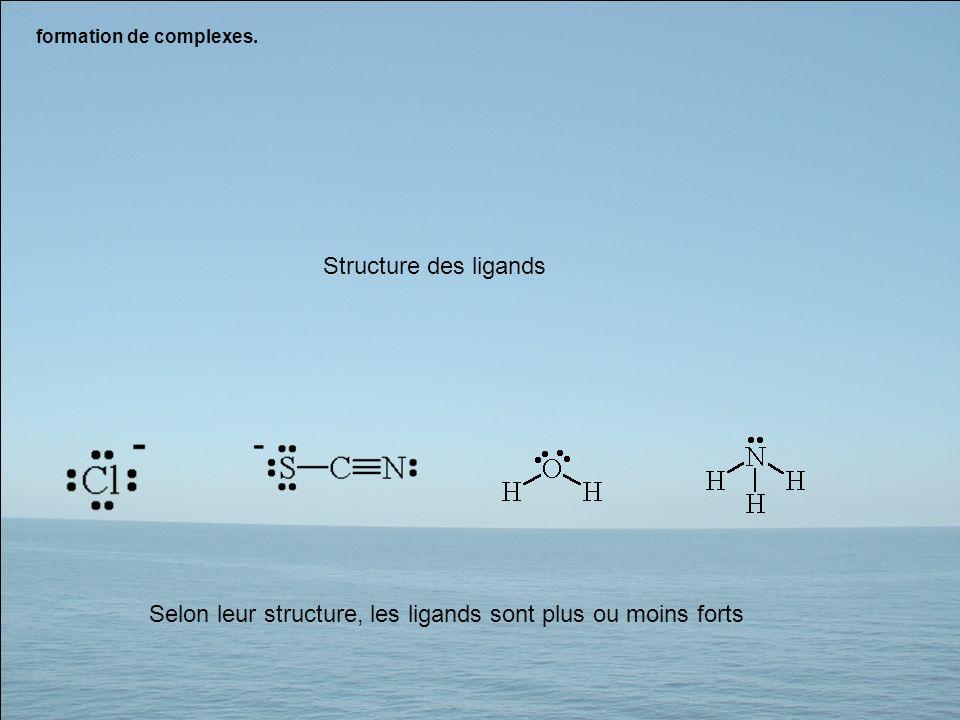 formation de complexes. Structure des ligands Selon leur structure, les ligands sont plus ou moins forts