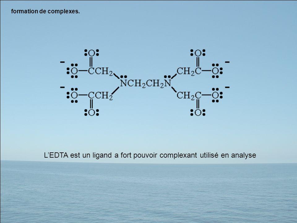 formation de complexes. LEDTA est un ligand a fort pouvoir complexant utilisé en analyse