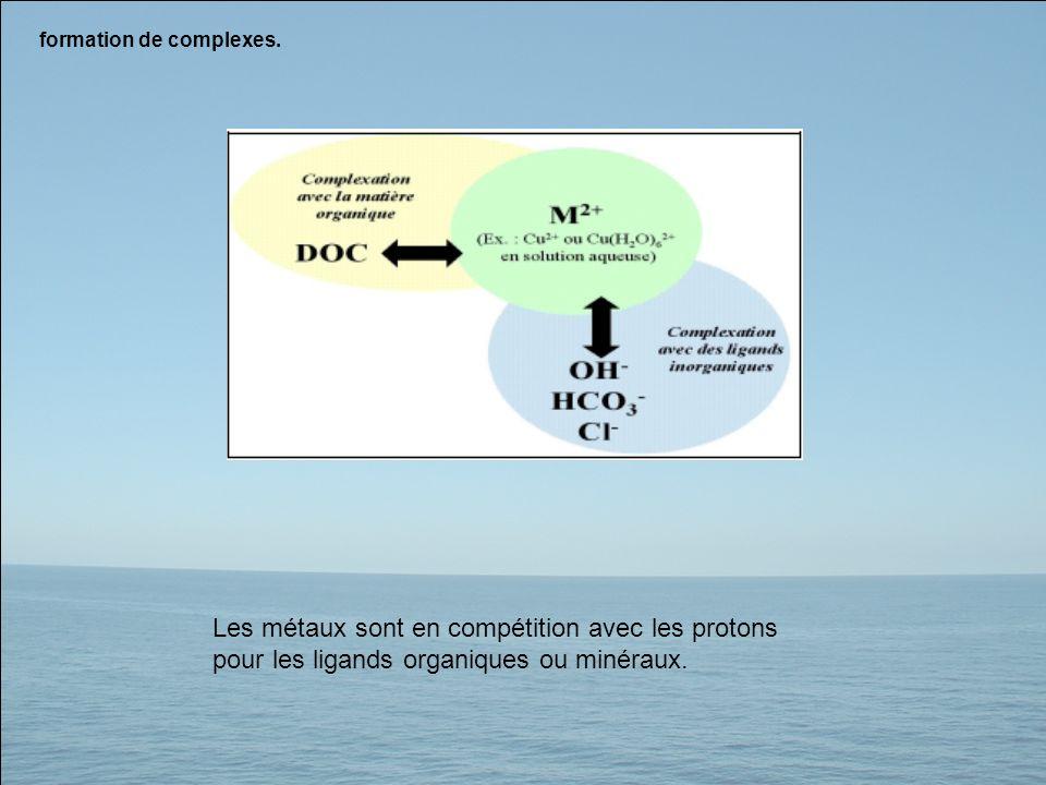 formation de complexes. Les métaux sont en compétition avec les protons pour les ligands organiques ou minéraux.