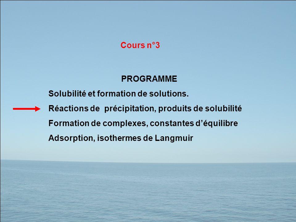 PROGRAMME Solubilité et formation de solutions. Réactions de précipitation, produits de solubilité Formation de complexes, constantes déquilibre Adsor