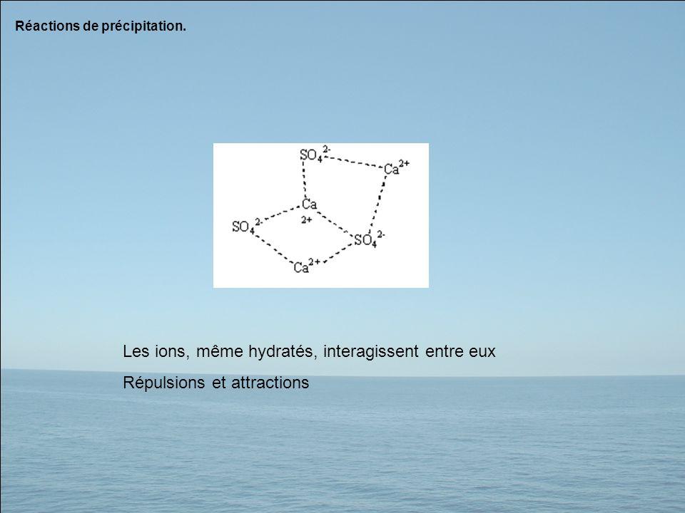 Les ions, même hydratés, interagissent entre eux Répulsions et attractions Réactions de précipitation.