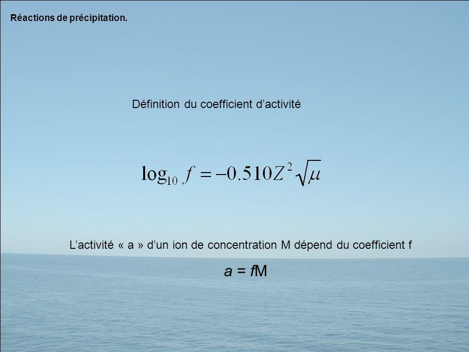 Réactions de précipitation. Définition du coefficient dactivité Lactivité « a » dun ion de concentration M dépend du coefficient f a = fM