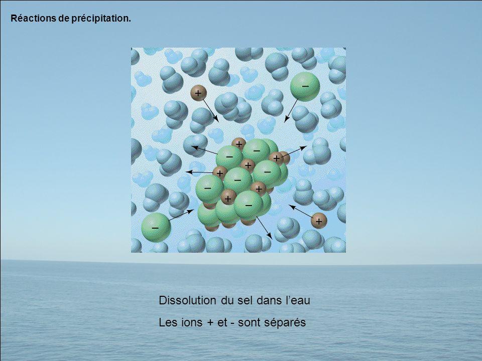 Réactions de précipitation. Dissolution du sel dans leau Les ions + et - sont séparés