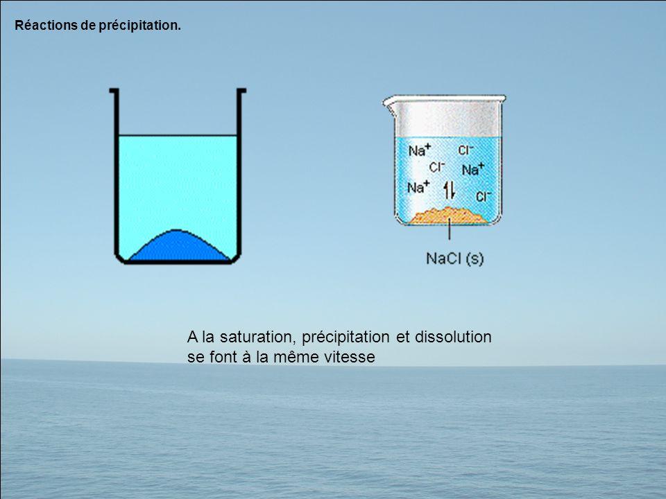A la saturation, précipitation et dissolution se font à la même vitesse