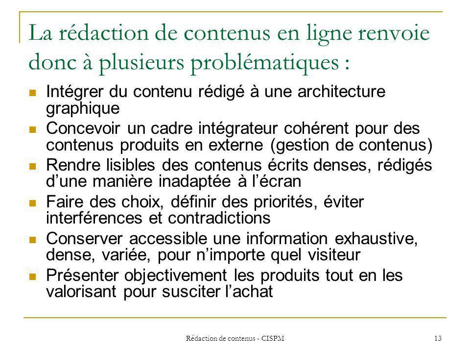 Rédaction de contenus - CISPM14 Différents types décrits