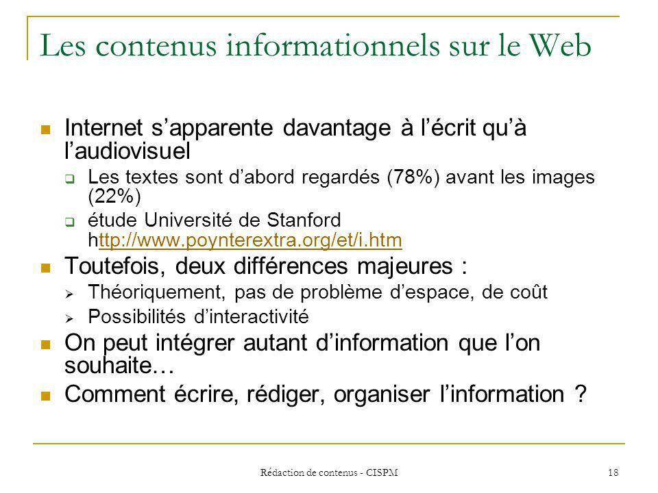 Rédaction de contenus - CISPM 19 Penser au(x) lecteur(s)… Quest-ce que lire en ligne .