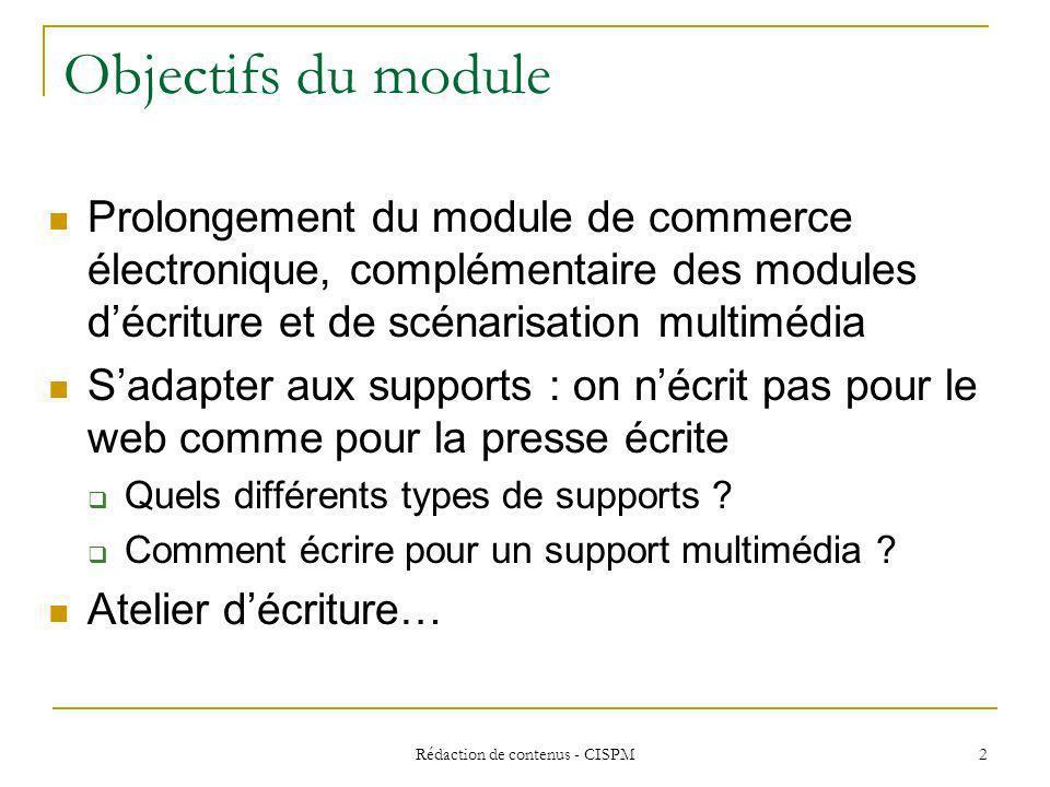 Rédaction de contenus - CISPM3 Différents types de supports du point de vue rédactionnel…