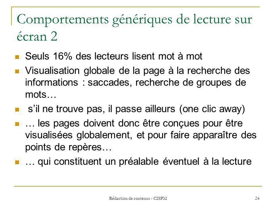 Rédaction de contenus - CISPM 25 Principes fondamentaux Facile à lire Facile à comprendre Facile à explorer
