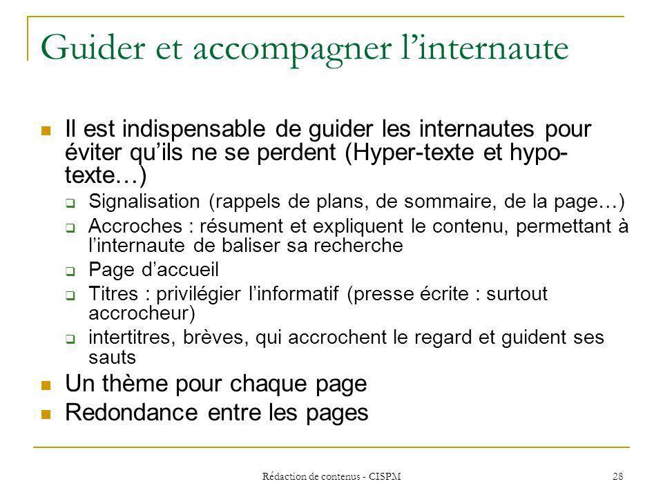 Rédaction de contenus - CISPM 29 Contextualiser le site sur chaque page Qui sexprime .