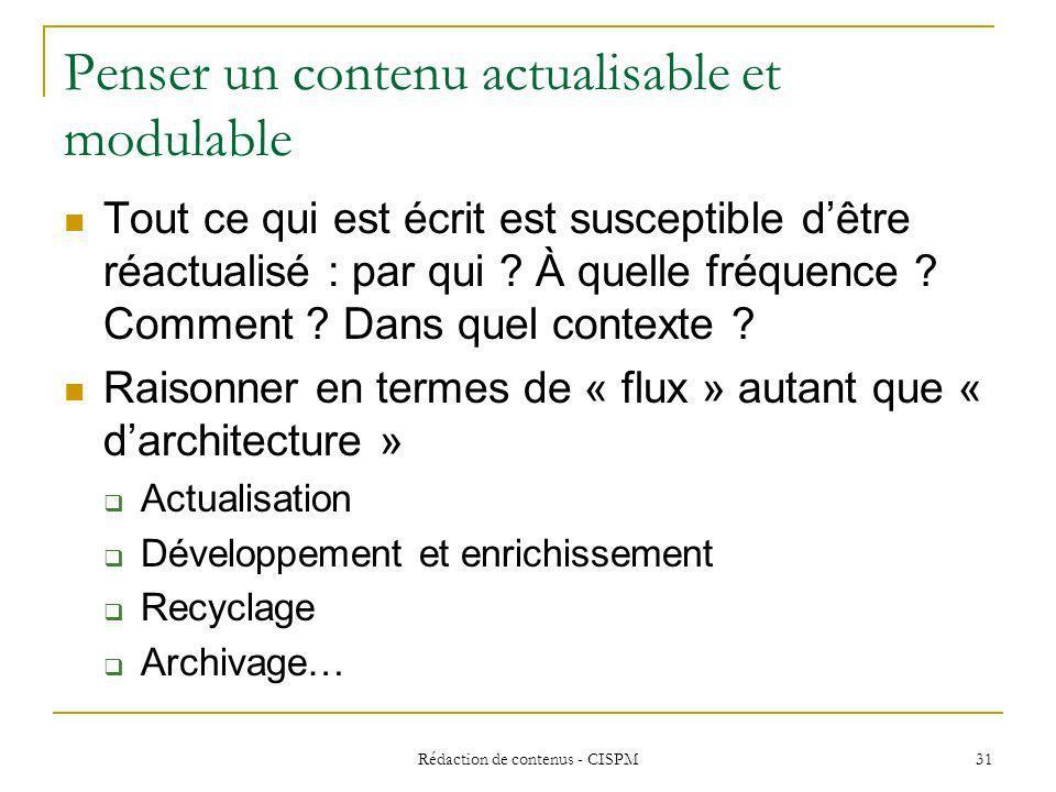 Rédaction de contenus - CISPM32 Principes de rédaction communs aux différents écrits