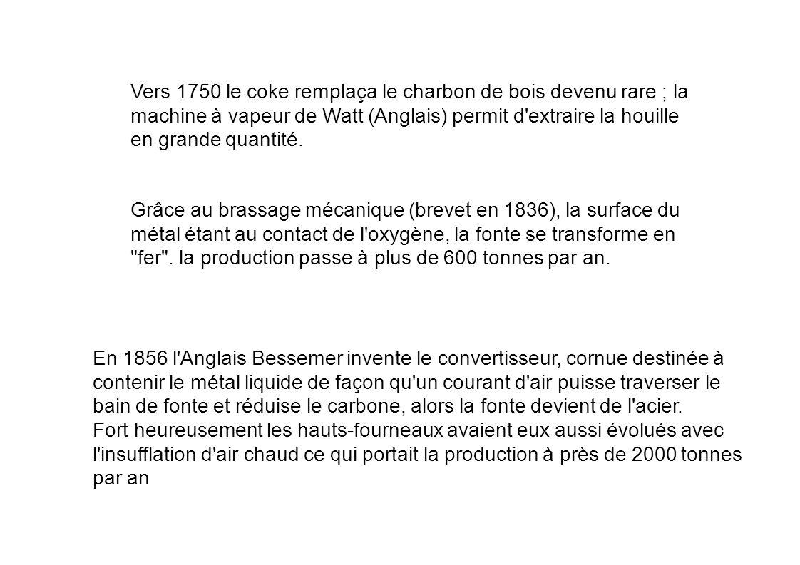 Vers 1750 le coke remplaça le charbon de bois devenu rare ; la machine à vapeur de Watt (Anglais) permit d'extraire la houille en grande quantité. Grâ
