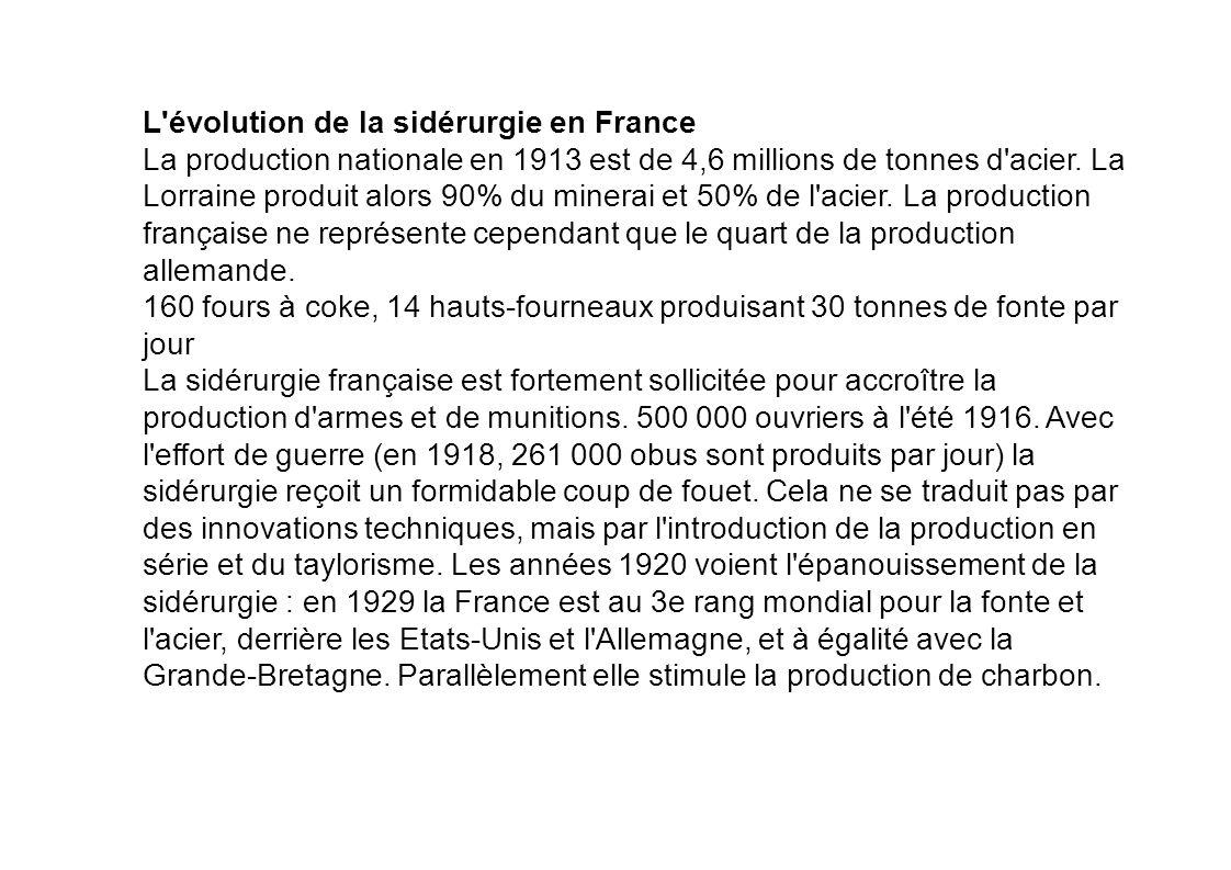 L'évolution de la sidérurgie en France La production nationale en 1913 est de 4,6 millions de tonnes d'acier. La Lorraine produit alors 90% du minerai