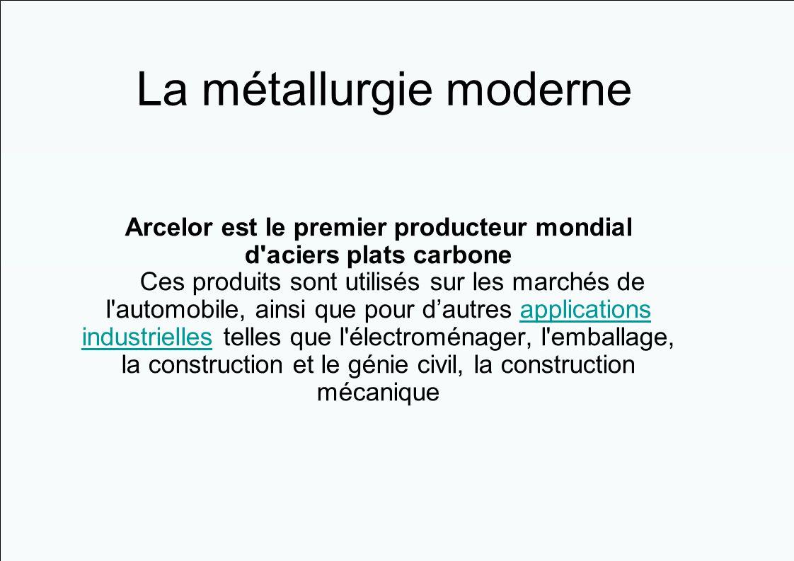 Arcelor est le premier producteur mondial d'aciers plats carbone Ces produits sont utilisés sur les marchés de l'automobile, ainsi que pour dautres ap