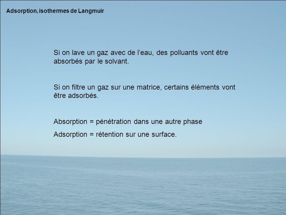Adsorption, isothermes de Langmuir Si on lave un gaz avec de leau, des polluants vont être absorbés par le solvant. Si on filtre un gaz sur une matric