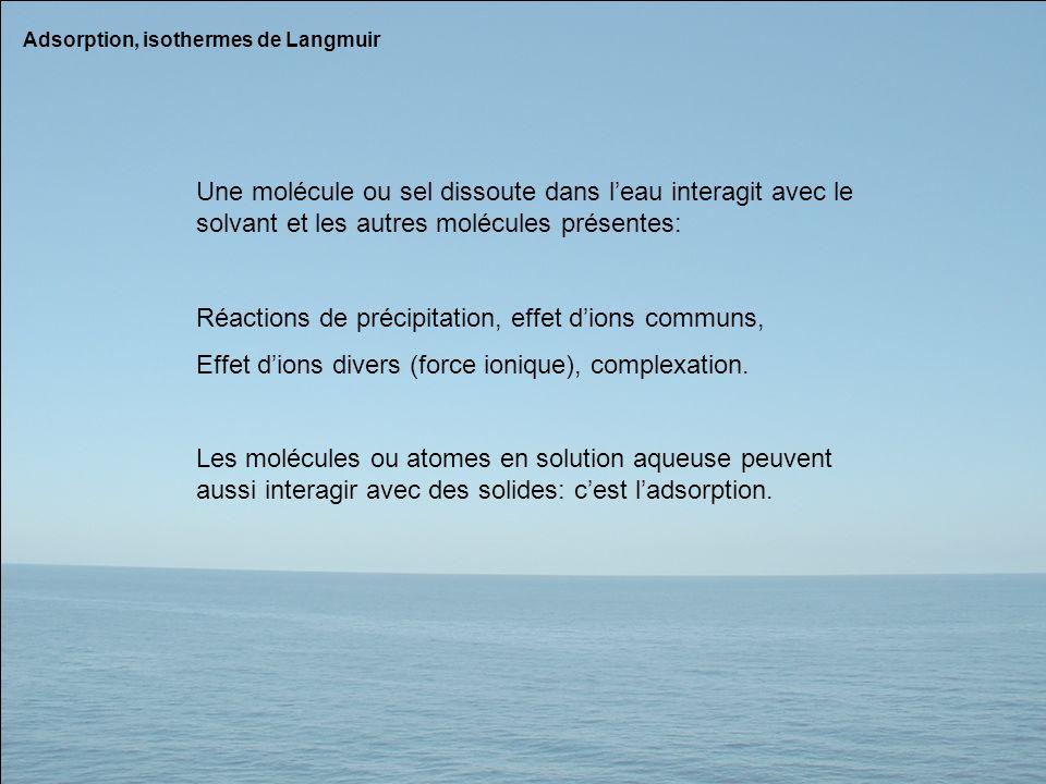 Adsorption, isothermes de Langmuir Une molécule ou sel dissoute dans leau interagit avec le solvant et les autres molécules présentes: Réactions de pr