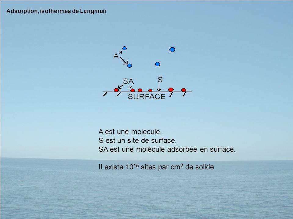 Adsorption, isothermes de Langmuir A est une molécule, S est un site de surface, SA est une molécule adsorbée en surface. Il existe 10 15 sites par cm