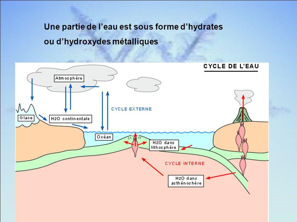 Une partie de leau est sous forme dhydrates ou dhydroxydes métalliques