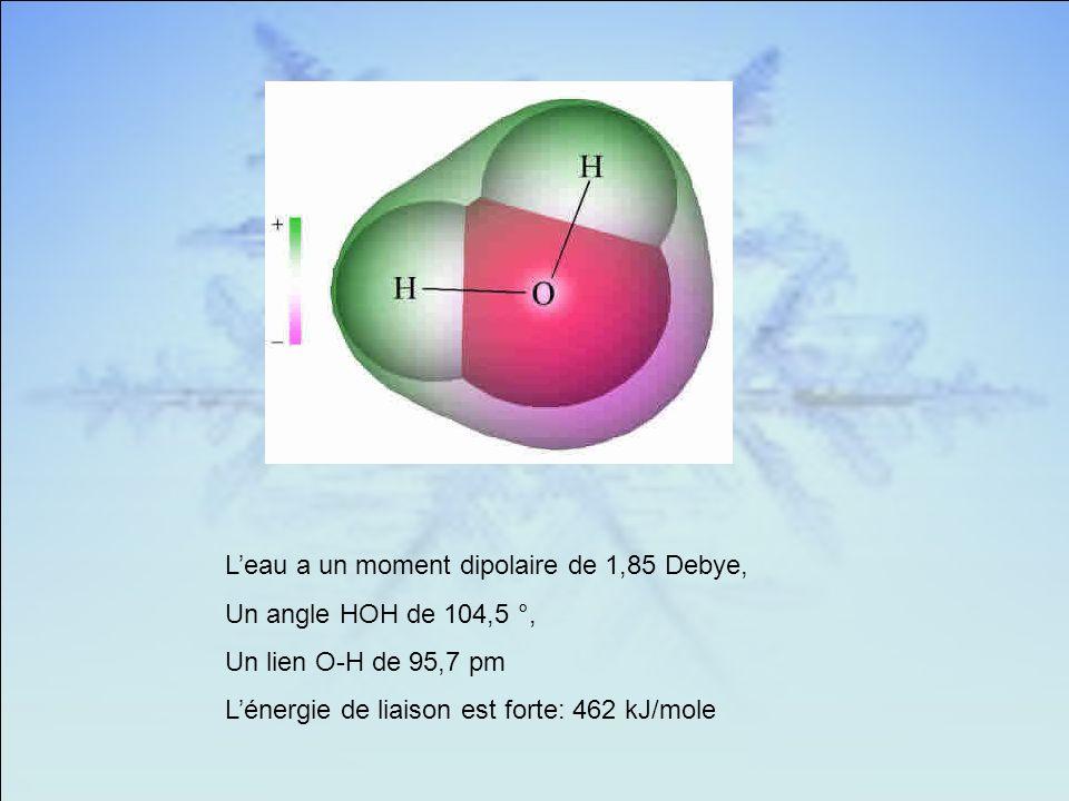 Leau a un moment dipolaire de 1,85 Debye, Un angle HOH de 104,5 °, Un lien O-H de 95,7 pm Lénergie de liaison est forte: 462 kJ/mole
