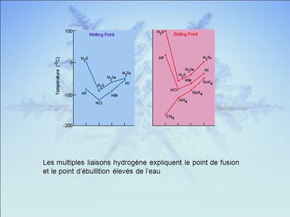 Les multiples liaisons hydrogène expliquent le point de fusion et le point débullition élevés de leau