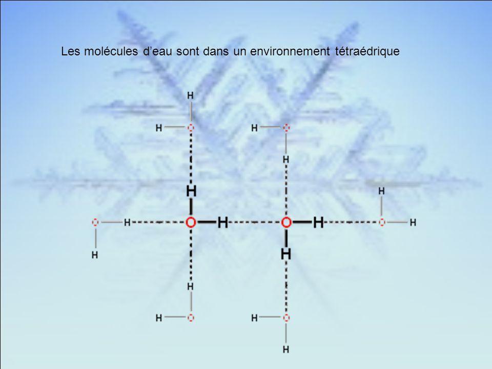 Les molécules deau sont dans un environnement tétraédrique