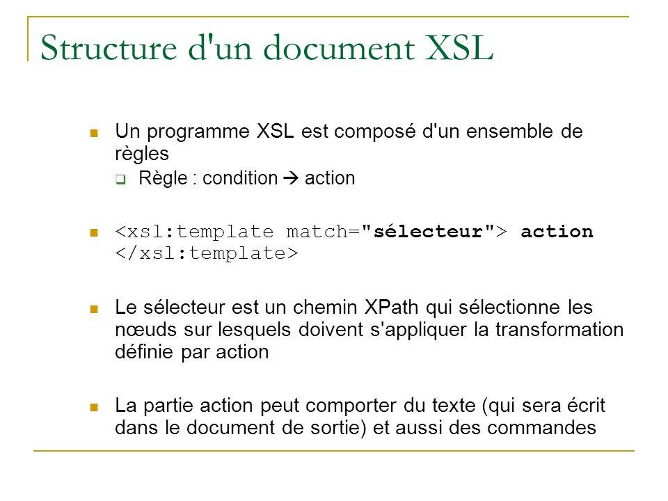 Structure d un document XSL Un programme XSL est composé d un ensemble de règles Règle : condition action action Le sélecteur est un chemin XPath qui sélectionne les nœuds sur lesquels doivent s appliquer la transformation définie par action La partie action peut comporter du texte (qui sera écrit dans le document de sortie) et aussi des commandes