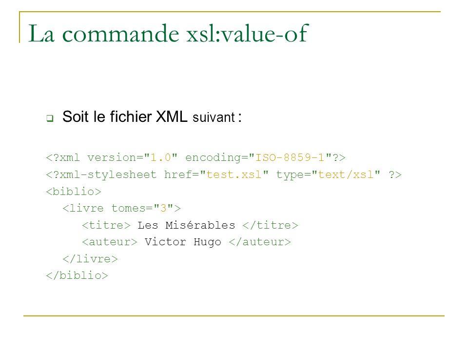 La commande xsl:value-of Soit le fichier XML suivant : Les Misérables Victor Hugo