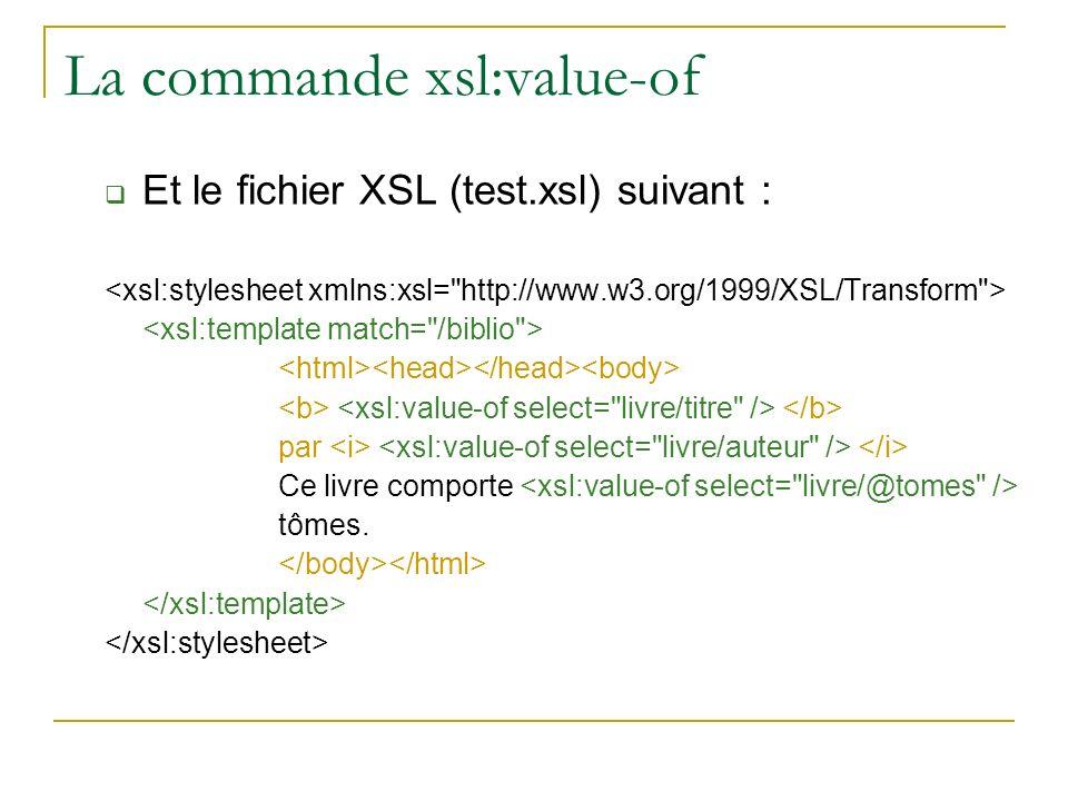 La commande xsl:value-of Et le fichier XSL (test.xsl) suivant : par Ce livre comporte tômes.
