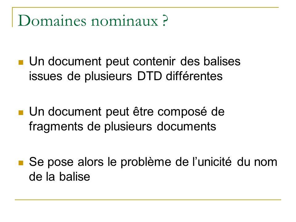 Domaines nominaux ? Un document peut contenir des balises issues de plusieurs DTD différentes Un document peut être composé de fragments de plusieurs