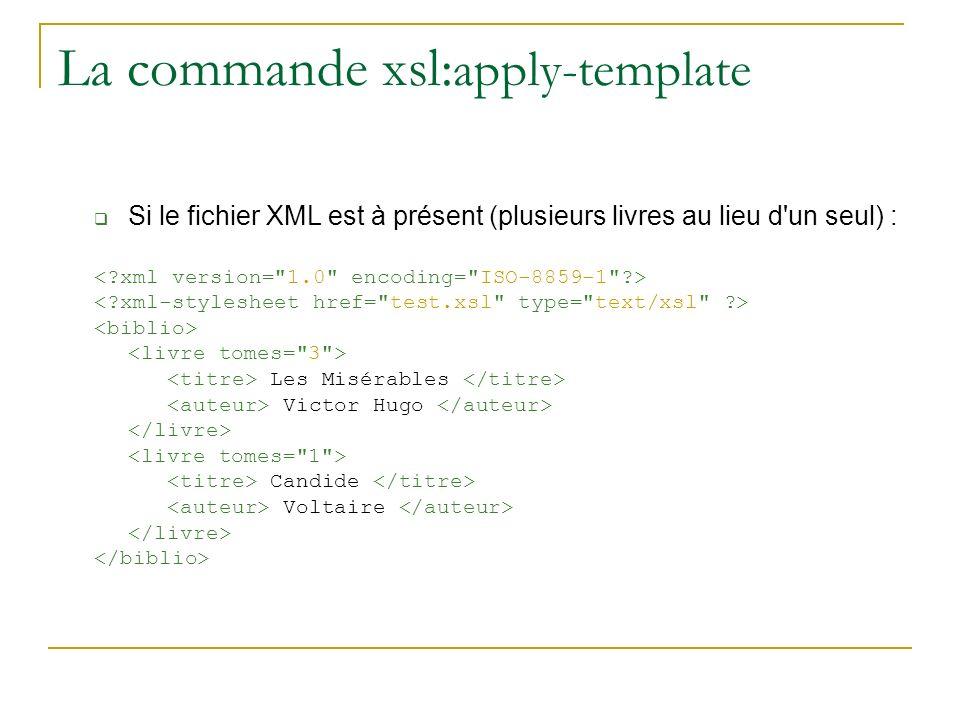 La commande xsl: apply-template Si le fichier XML est à présent (plusieurs livres au lieu d'un seul) : Les Misérables Victor Hugo Candide Voltaire