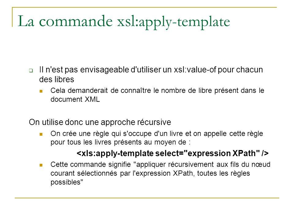 La commande xsl: apply-template Il n est pas envisageable d utiliser un xsl:value-of pour chacun des libres Cela demanderait de connaître le nombre de libre présent dans le document XML On utilise donc une approche récursive On crée une règle qui s occupe d un livre et on appelle cette règle pour tous les livres présents au moyen de : Cette commande signifie appliquer récursivement aux fils du nœud courant sélectionnés par l expression XPath, toutes les règles possibles