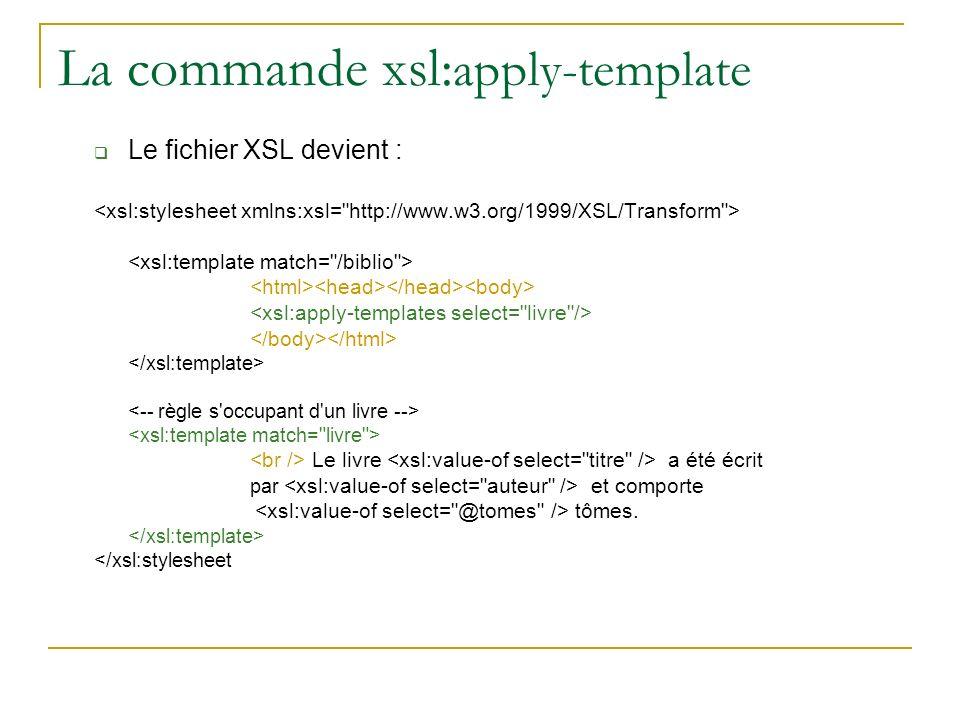 La commande xsl: apply-template Le fichier XSL devient : Le livre a été écrit par et comporte tômes. </xsl:stylesheet