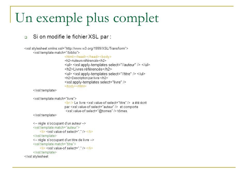 Un exemple plus complet Si on modifie le fichier XSL par : Auteurs référencés Livres référencés Description par livre Le livre a été écrit par et comporte tômes.