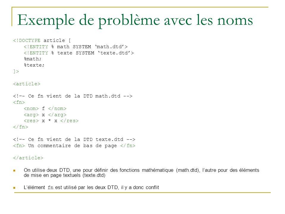 Exemple de problème avec les noms <!DOCTYPE article [ %math; %texte; ]> f x x * x Un commentaire de bas de page On utilise deux DTD, une pour définir des fonctions mathématique (math.dtd), lautre pour des éléments de mise en page textuels (texte.dtd) Lélément fn est utilisé par les deux DTD, il y a donc conflit