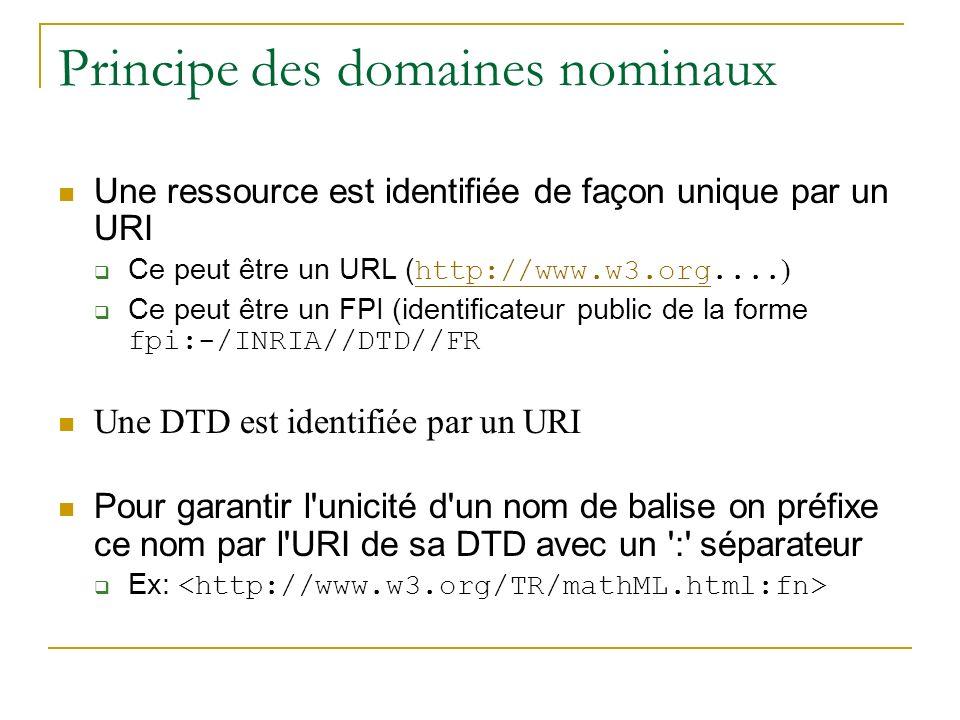 Principe des domaines nominaux Une ressource est identifiée de façon unique par un URI Ce peut être un URL ( http://www.w3.org.... ) http://www.w3.org