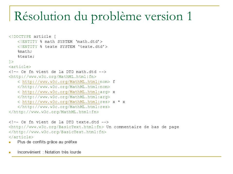 Résolution du problème version 1 <!DOCTYPE article [ %math; %texte; ]> fhttp://www.w3c.org/MathML.html: xhttp://www.w3c.org/MathML.html: x * xhttp://www.w3c.org/MathML.html: Un commentaire de bas de page Plus de conflits grâce au préfixe Inconvénient : Notation très lourde