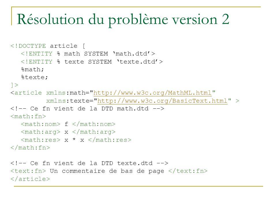 Résolution du problème version 2 <!DOCTYPE article [ %math; %texte; ]> <article xmlns:math= http://www.w3c.org/MathML.html http://www.w3c.org/MathML.html xmlns:texte= http://www.w3c.org/BasicText.html >http://www.w3c.org/BasicText.html f x x * x Un commentaire de bas de page