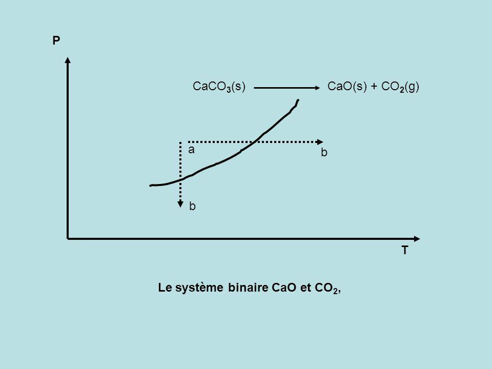 P T a b b CaCO 3 (s) CaO(s) + CO 2 (g) Le système binaire CaO et CO 2,