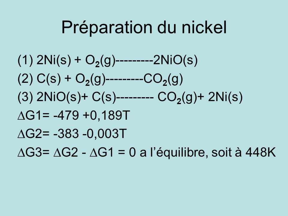 Préparation du nickel (1)2Ni(s) + O 2 (g)---------2NiO(s) (2)C(s) + O 2 (g)---------CO 2 (g) (3)2NiO(s)+ C(s)--------- CO 2 (g)+ 2Ni(s) G1= -479 +0,18