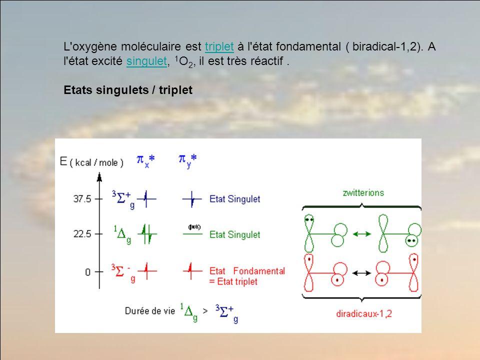 L oxygène moléculaire est triplet à l état fondamental ( biradical-1,2).