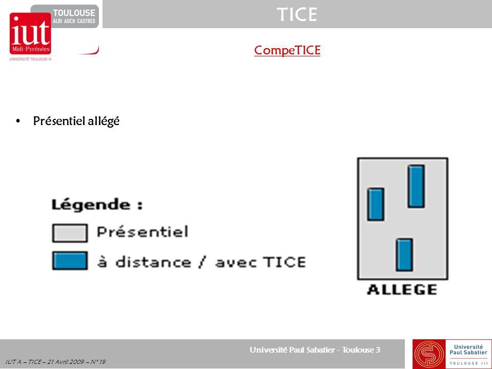 Université Paul Sabatier - Toulouse 3 TICE IUT A – TICE – 21 Avril 2009 – N° 19 CompeTICE Présentiel allégé
