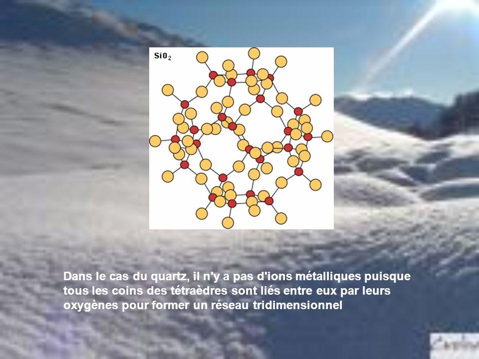 Dans le cas du quartz, il n'y a pas d'ions métalliques puisque tous les coins des tétraèdres sont liés entre eux par leurs oxygènes pour former un rés