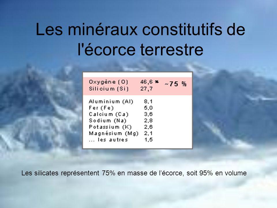 Les minéraux constitutifs de l'écorce terrestre Les silicates représentent 75% en masse de lécorce, soit 95% en volume