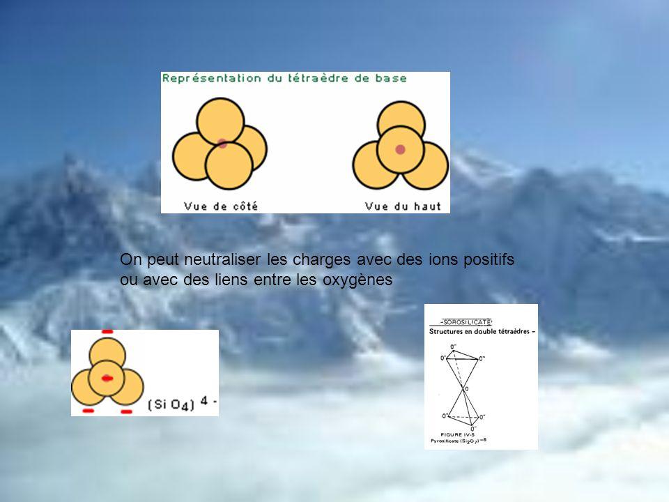 On peut neutraliser les charges avec des ions positifs ou avec des liens entre les oxygènes