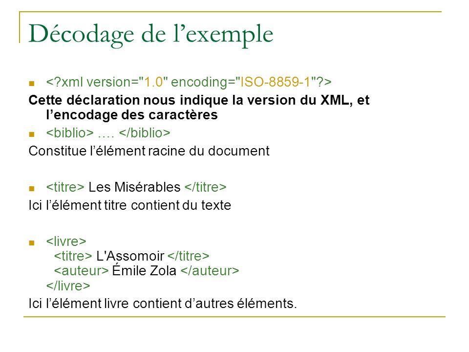 Décodage de lexemple Cette déclaration nous indique la version du XML, et lencodage des caractères …. Constitue lélément racine du document Les Miséra